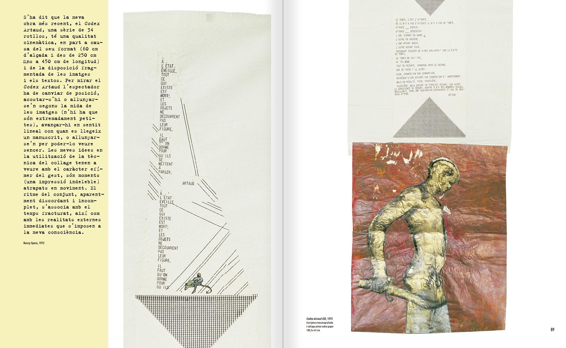 """Selecció del catàleg """"Nancy Spero. Dissidanses"""" pàgines 88 i 89"""