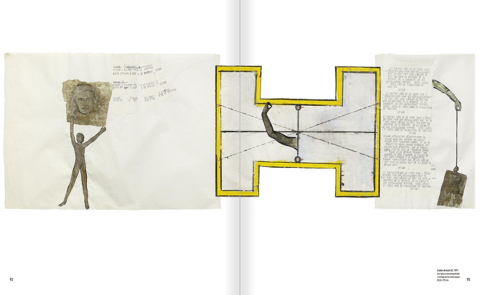 """Selecció del catàleg """"Nancy Spero. Dissidanses"""" pàgines 92 i 93"""