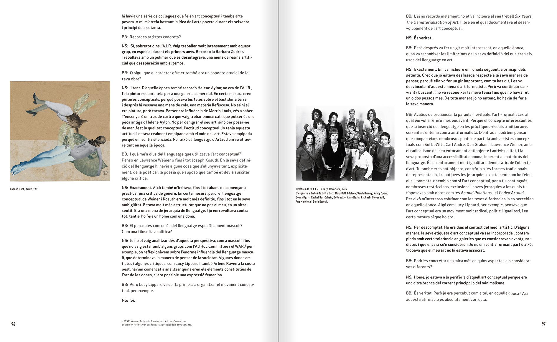 """Selecció del catàleg """"Nancy Spero. Dissidanses"""" pàgines 96 i 97"""