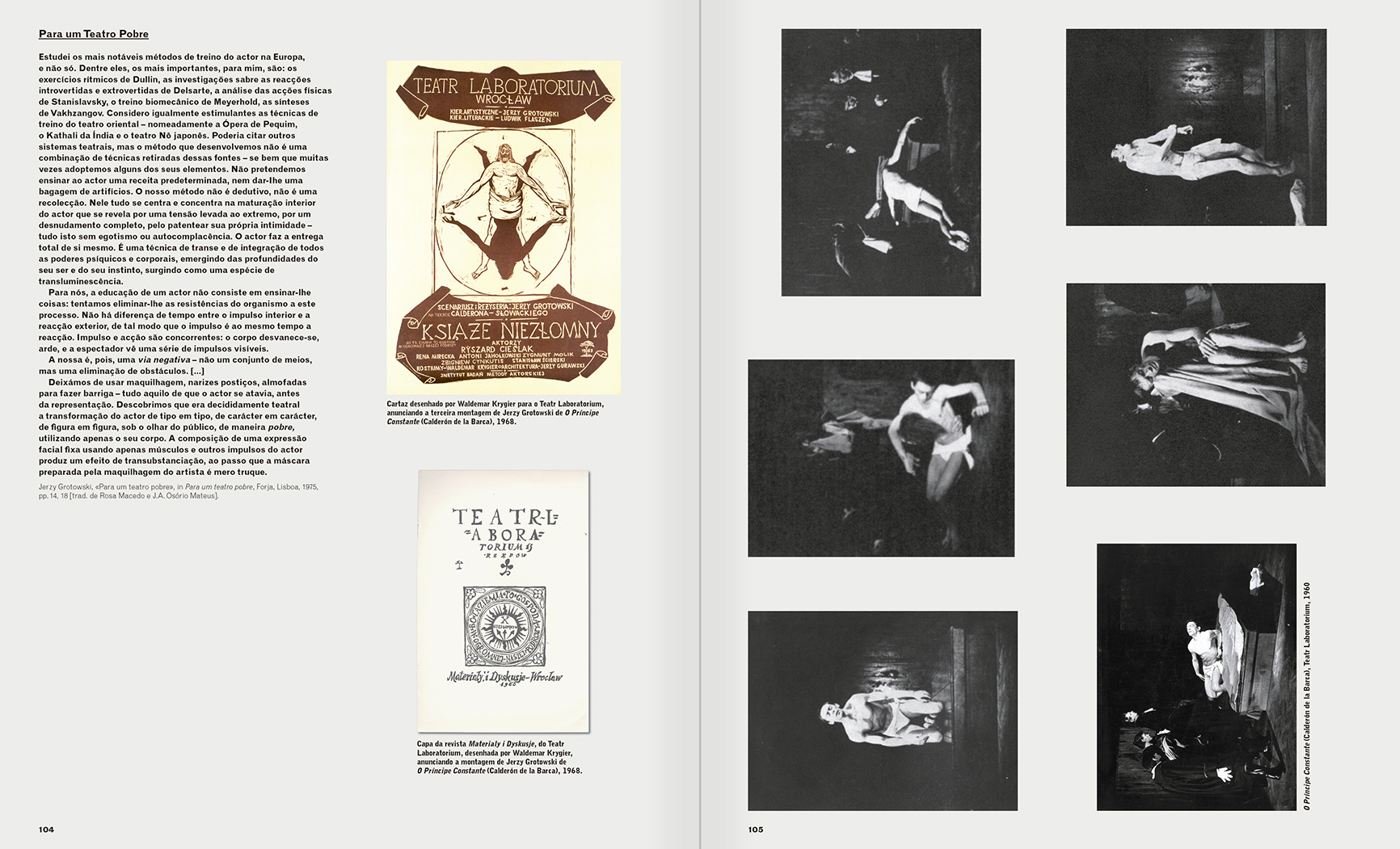 Selection from the catalogue 'A Theater without Theater', pages 104 and 105