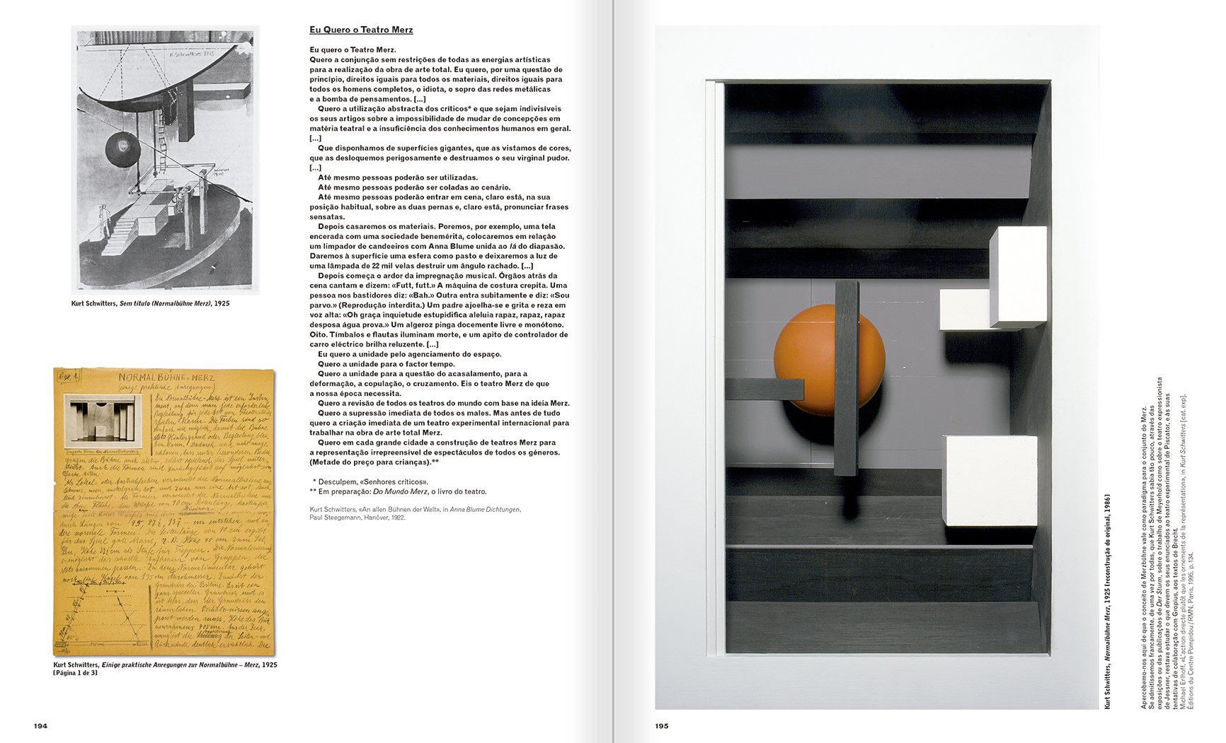 Selection from the catalogue 'A Theater without Theater', pages 194 and 195